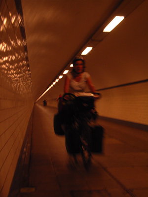 Krista rides through the Sint Anna tunnel, to Antwerp