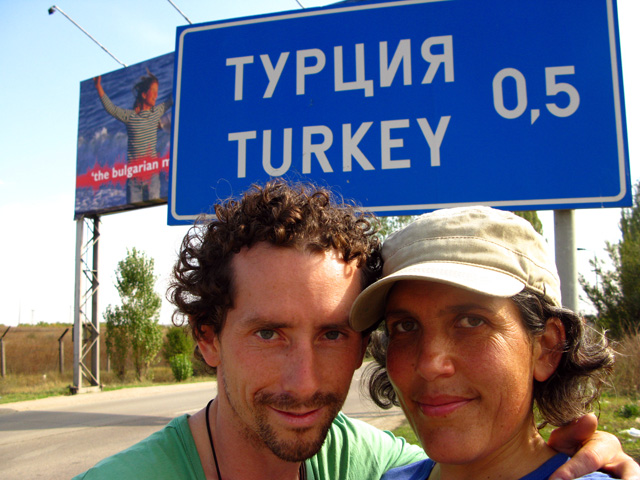 Photo: Dan and I crossing the border into Turkey in October 2008