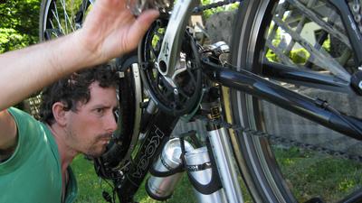 Dan mending the bikes