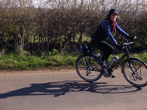 Krista Bernard of RideHimalaya tests out her new Koga Miyata bicycle