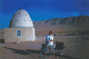 Photo: Krista's previous trip, from Australia to Egypt by bicycle. Krista by a Syrian dwelling